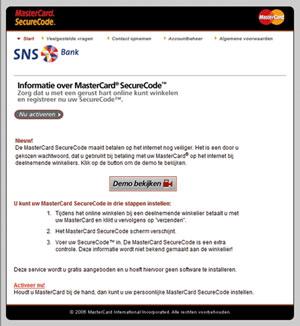 mastercard securecode sns bank. Black Bedroom Furniture Sets. Home Design Ideas
